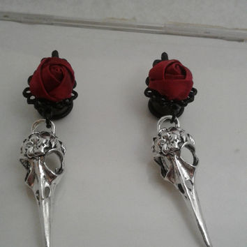Bird Skull dangles, Black filigree, red Satin rose ear plugs, goth,  steel tunnels, 0g, 00g