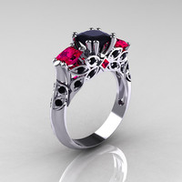 Classic 18K White Gold Three Stone Princess Black Diamond Rubies Solitaire Ring R500-18KWGRBD