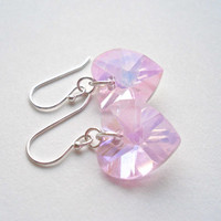 Pink Heart Earrings Pink Faceted Glass Earrings Pink and Silver Earrings Sterling Silver Heart Earrings AB Heart Earrings Pink Earrings Pink