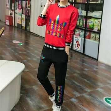 """Adidas"" Fashion Casual Colorful Clover Letter Print Long Sleeve Set Two-Piece Sportswear"