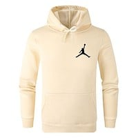 Jordan Tide brand men and women models solid color wild casual sports hooded sweater Apricot