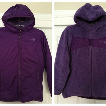 Sale!! Vintage The North Face Reversible purple hooded windbreaker TNF jacket size Girls Large Free US Shipping