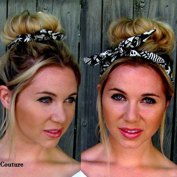 Bun Wire Wrap Black Aztec Wired Flex Headband Hair Accessory for Buns PonyTail Braid Ins for Hair Headband Bun Wraps - Choose YourColor