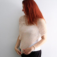 Nude poncho, summer wrap, wedding shawl, Eudora, loose knit poncho