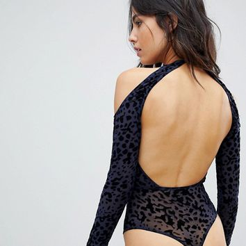 ASOS Melika Flocked Animal Print Long Sleeve Body at asos.com