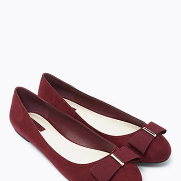 Bow-Topped Faux Suede Flats