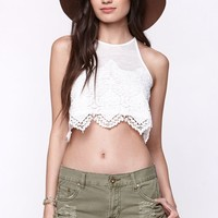 LA Hearts Goddess Crochet Cropped Tank Top - Womens Tees