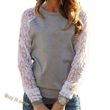 Women Spring Autumn Lace Patchwork Hoodies Casual Sweatshirts (5 COLORS) = 1931766020