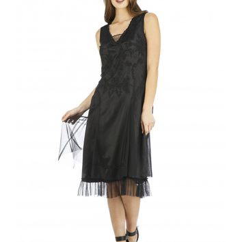 Nataya AL-254 Tara 1920s Flapper Style Party Dress in Black