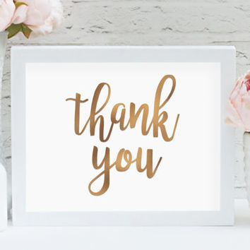 "Thank You 8"" x 10"" DIGITAL DOWNLOAD Bronze Wedding Printable Photography Prop Sign (Also Available In Gold And Chalkboard)"