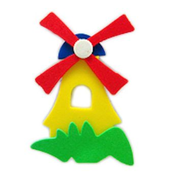 Decorative Dutch Windmill Novelty Magnet Yellow Poly