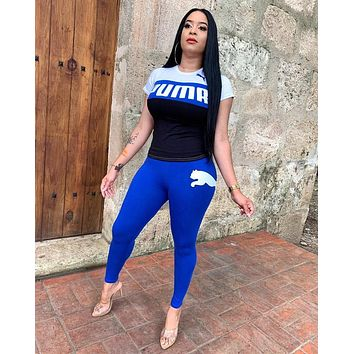 PUMA Newest Popular Women Casual Print Short Sleeve Top Pants Trousers Sport Set Two-Piece Blue