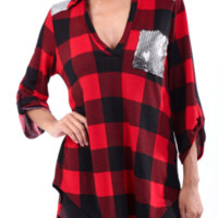 Red & Black Plaid with Silver Sequins