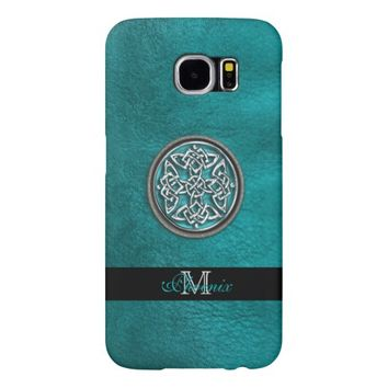 Personalized Teal Leather Celtic Knot Galaxy Case