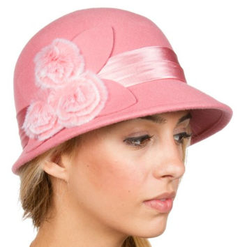 Sakkas 7841LC Sadie Faux Fur Vintage Style Wool Cloche Bucket Bell Hat - Blush Pink - One Size