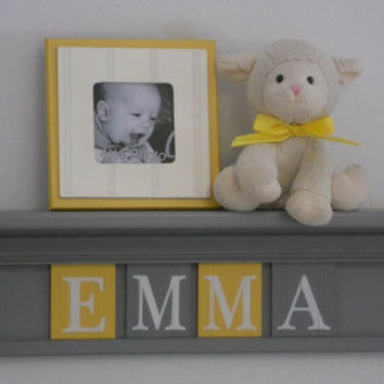 "Yellow and Gray Nursery Wall Art - Baby Girl Nursery Decor - Custom for EMMA - Personalized 24"" Grey Wood Shelf 4 Wooden Wall Letters"