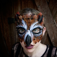 Feather Great Horned Owl Mask