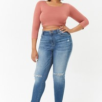 Plus Size Back Drawstring Keyhole Crop Top