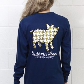 Proud Pig Gold Houndstooth Long Sleeve {Navy}