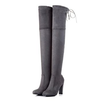 On Sale Hot Deal Plus Size High Heel Winter Stretch Boots [11156052551]