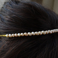 peach pearl headband, peach blush freshwater rice pearl gold tiara alice band, wedding