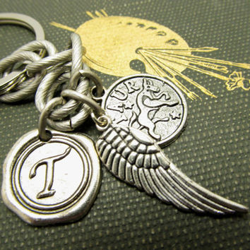 Personalized  Keychain, Constellation Charm,  Antique Silver Wax Seal Initial Pendant.  Monogrammed