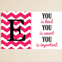 Two 8x10 Prints - You is Kind and Monogram Print - Nursery Art - Girl Room Decor - Pick Your Colors