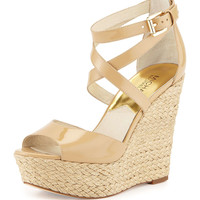 Gabriella Patent Leather Wedge Sandal, Nude - MICHAEL Michael Kors