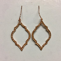 Rose Gold Pave Drop Earrings