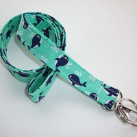 Fabric Lanyard  ID Badge Holder - Lobster clasp and key ring - navy blue auqa whales coworker friend gift for her under 10
