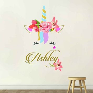 Unicorn wall decal Custom Name Vinyl Wall Decal Large Wall Decal Smiling Unicorn Decal Happy unicorn decal Unicorn lashes cik2275