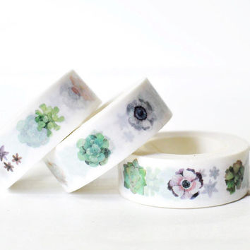 Succulent Washi Tape. 15mm x 10m. Flower Washi Tape. Gardening Washi Tape. Masking Tape.