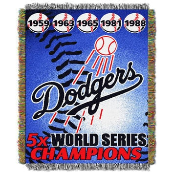 Los Angeles Dodgers MLB World Series Commemorative Woven Tapestry Throw (48x60)