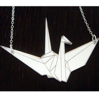 Supermarket - SALE - 1000 Cranes Silver Lucite Necklace from KidViskous
