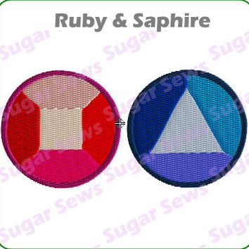 Steven Universe Ruby & Sapphire Iron On Embroidery Patch