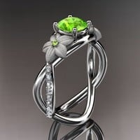 Spring Collection, Unique Diamond Engagement Rings,Engagement Sets,Birthstone Rings -  14kt white gold diamond leaf and vine birthstone ring ADLR90 Peridot - August\'s birthstone. nature inspired jewelry
