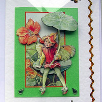 Nasturtium Fairy Hand-Crafted 3D Decoupage Card - With Love (1585)