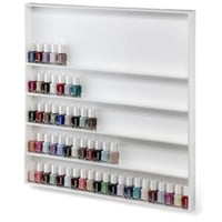 Acrylic Nail Polish Wall Organizer & Beauty Care Storage Rack Holds Up To 100+ Bottles | byAlegory (White Solid) Wall Mounting Hardware & Instructions Included Makeup Organizer