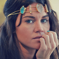 HOLIDAY SALE NOVA Headband  /// Lux Divine Double Banded Head Crown /// Gold dipped/// Turquoise, Druzies