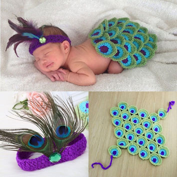 Hot Fashion Babies New Born Knit Skirt and Feather Headband Photography Pros Costome 2PCS Sets H_T (Color: Multicolor) = 1958057220