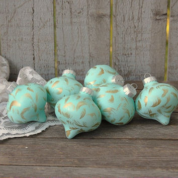 Christmas Ornament, Mint Green, Gold, Hand Painted, Shabby Chic, Christmas Decor, Glass, Set of 6