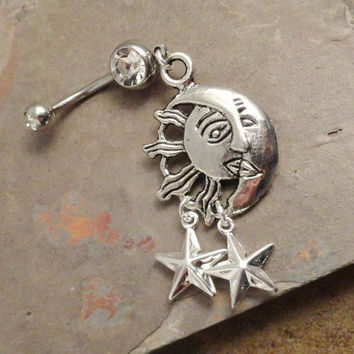 Belly Button Jewelry Ring Celestial Sun Moon and Stars