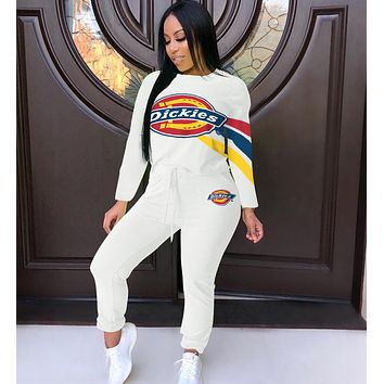 Dickies Fashion Women Casual Print Round Collar Sweater Pants Trousers Set Two-Piece Sportswear White