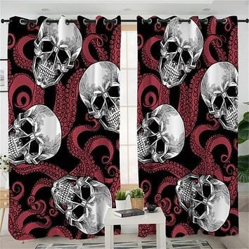 Skull Red Octopus Curtain for Living Room Gothic Blackout Curtains