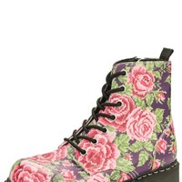 Digital Rose Vegan Combat Boots