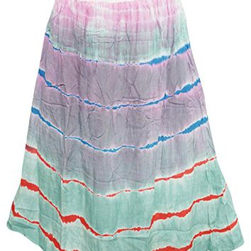 Womens Beach Multicoloured Printed Smoke Waist Rayon Maxi Skirts L