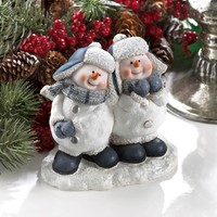 Cheerful Snowmen Duo Figurine