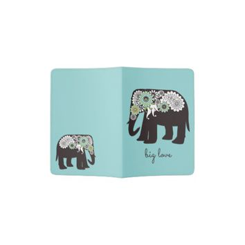 Paisley Elephant Big Love Cute Modern Turquoise Passport Holder