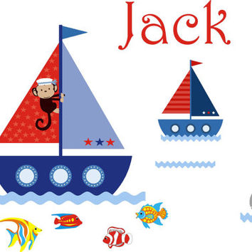 "Monogrammed Boat Wall Decals, Boats and Ocean Nursery Decor, Personalized Name Wall Decals, Boys Monogrammed Nursery Decals - 40"" x 80"""