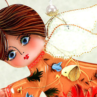 Handmade FLYING ANGEL glass fusing techniques newborn gift lovers mothers guardian amulet talisman
